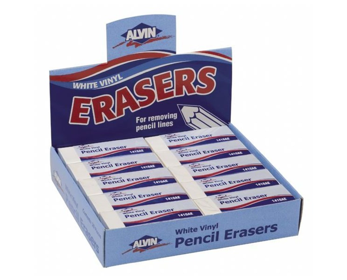 WHITE VINYL PENCIL ERASER 20pc 14100AE