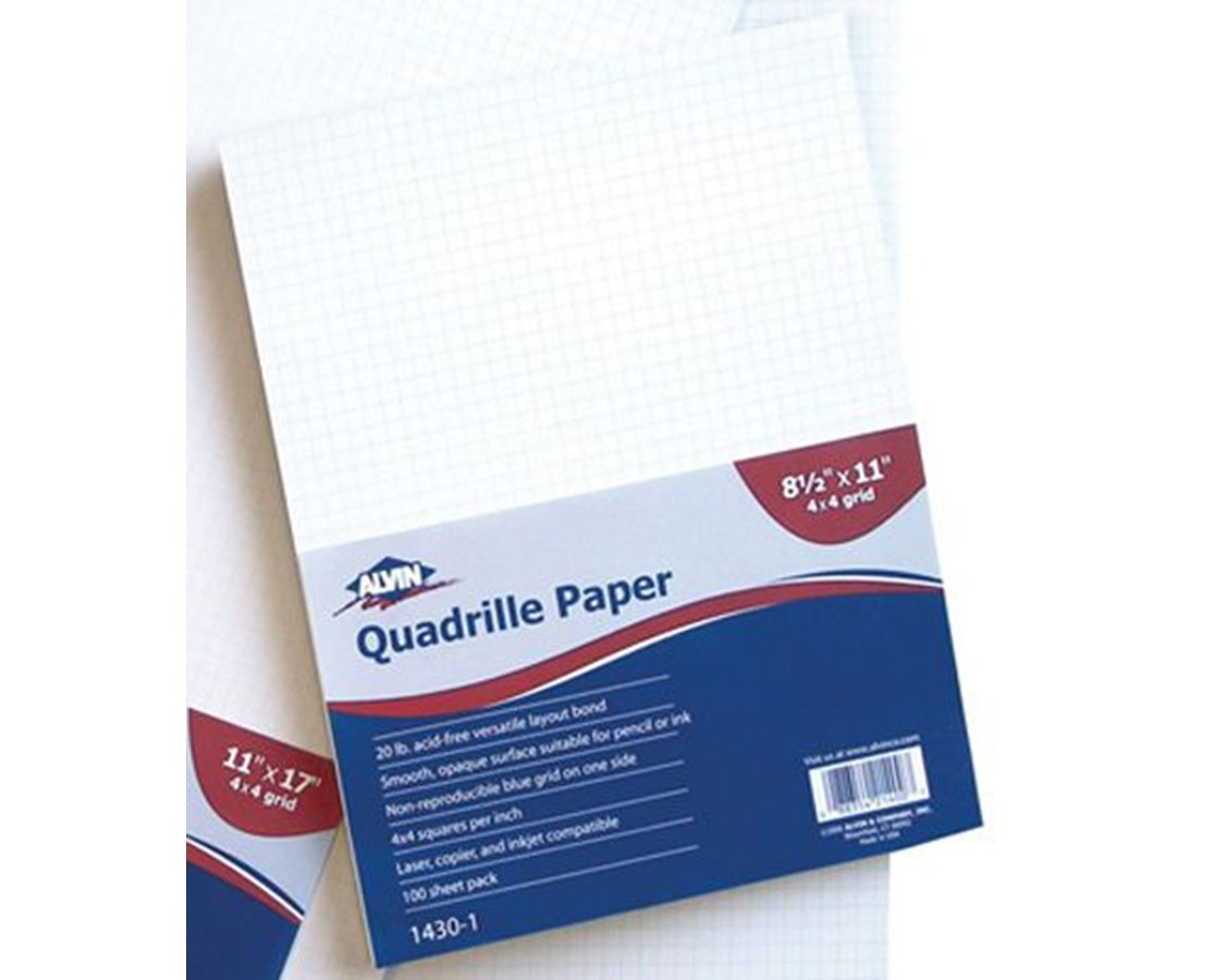 Alvin Qoadrille Paper 4 x 4 Grid  100 Sheet Package 1430-100