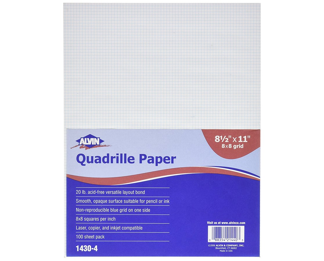 Alvin Qoadrille Paper 8 x 8 Grid  100 Sheet Package 1430-40