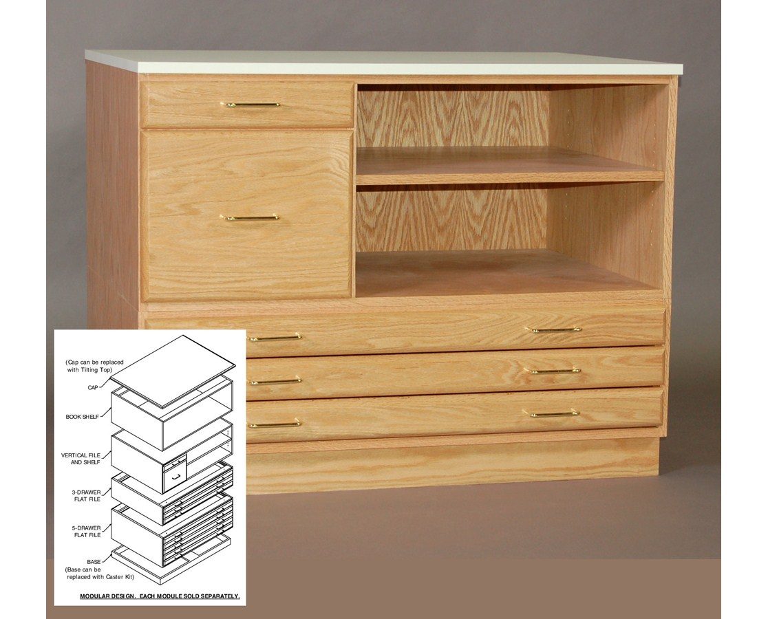 SMI Oak Vertical File and Shelf for 24 x 36 Plan File 2436-VS