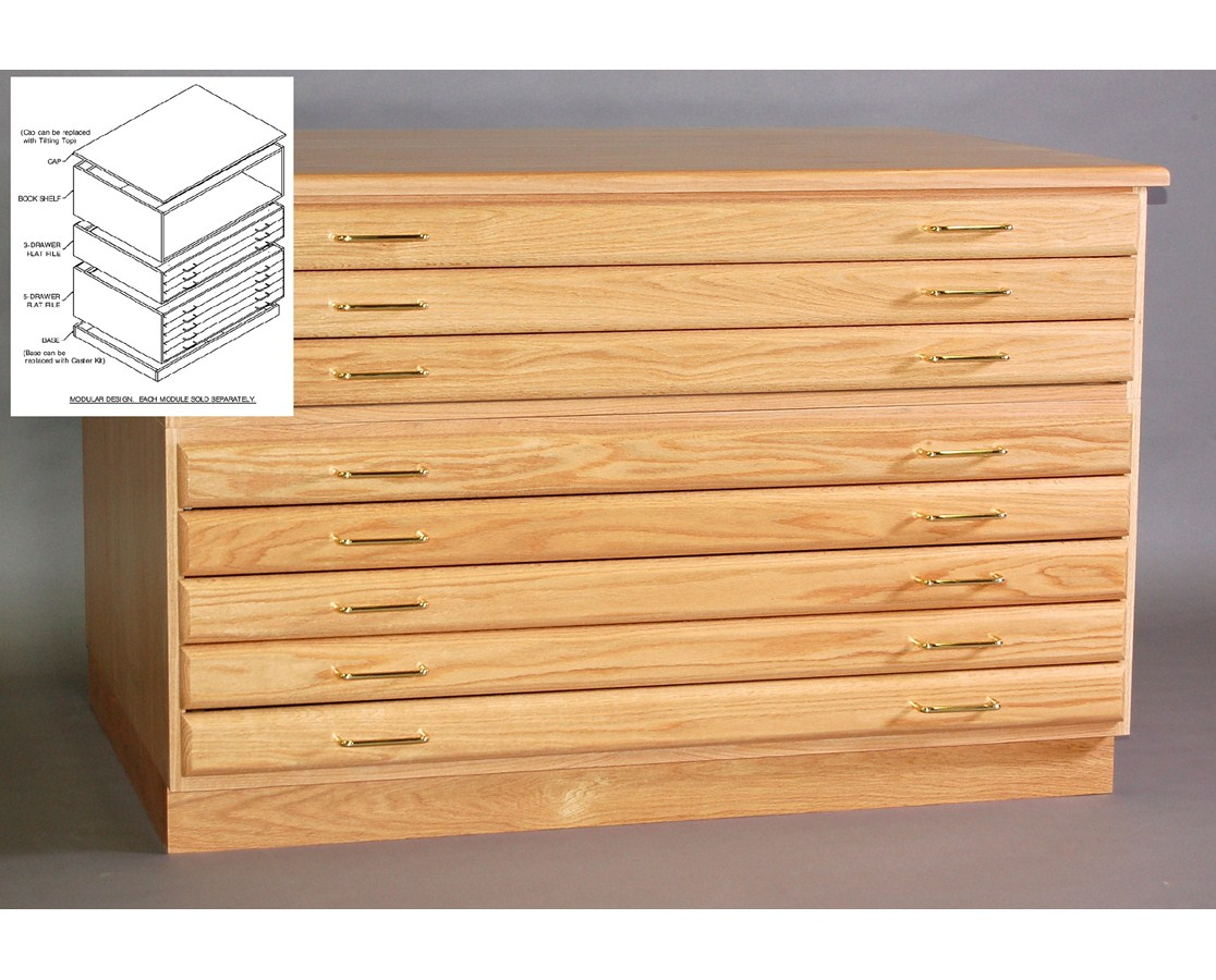 SMI 5-Drawer Oak Flat File For 24 x 36 Inch Sheets 2436-5D