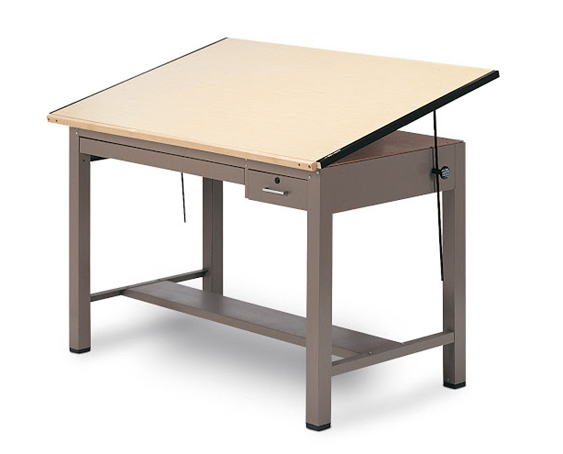 Mayline Ranger Steel Drawing Table with Tool and Shallow Drawers 7734B