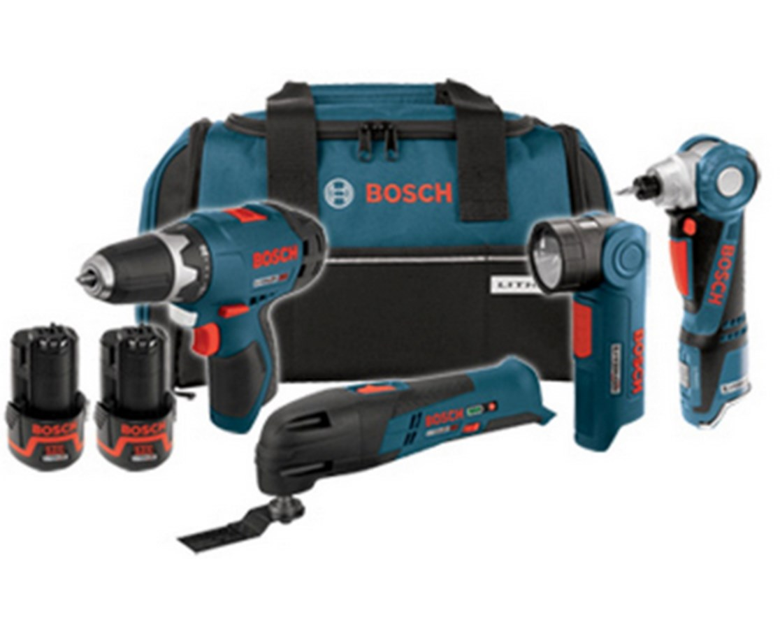bosch clpk41 120 12v max 4 tool lithium ion cordless combo kit tiger supplies. Black Bedroom Furniture Sets. Home Design Ideas