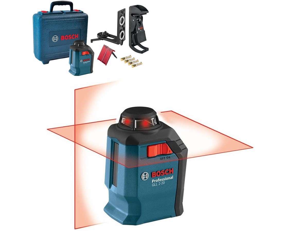 Bosch GLL 2-20 Self-leveling 65' Cross-Line Laser with 360° Horizontal Plane BOSGLL2-20
