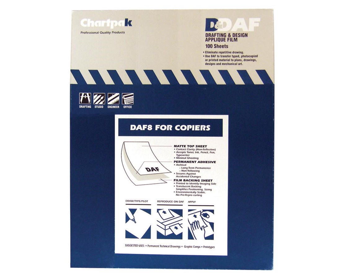 "Drafting and Design Applique Film Daf Sheets for Copiers 8.5"" X 11"" 100SHT DAF80"