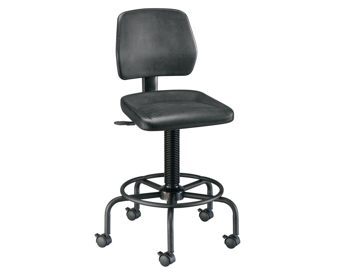 Alvin Utility Stool With back. Black DC208