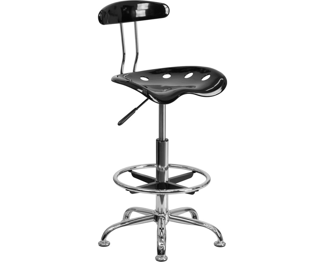 Flash Furniture Vibrant Chrome Drafting Chair LF-215-BLK-GG