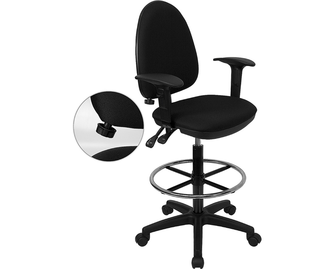 Flash Furniture Multifunctional Drafting Chair WL-A654MG-BK-AD-GG