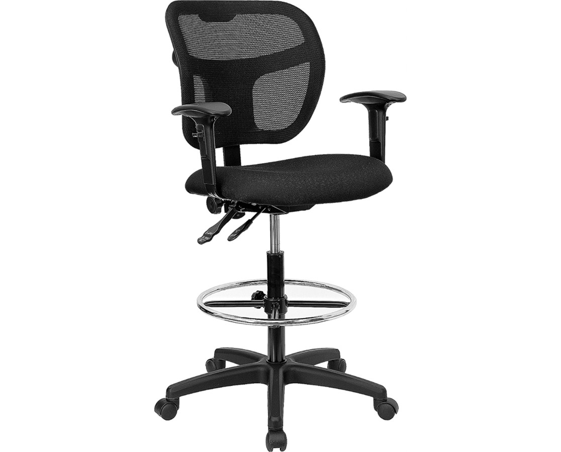 Flash Furniture Mesh Drafting Chair with Arms WL-A7671SYG-BK-AD-GG