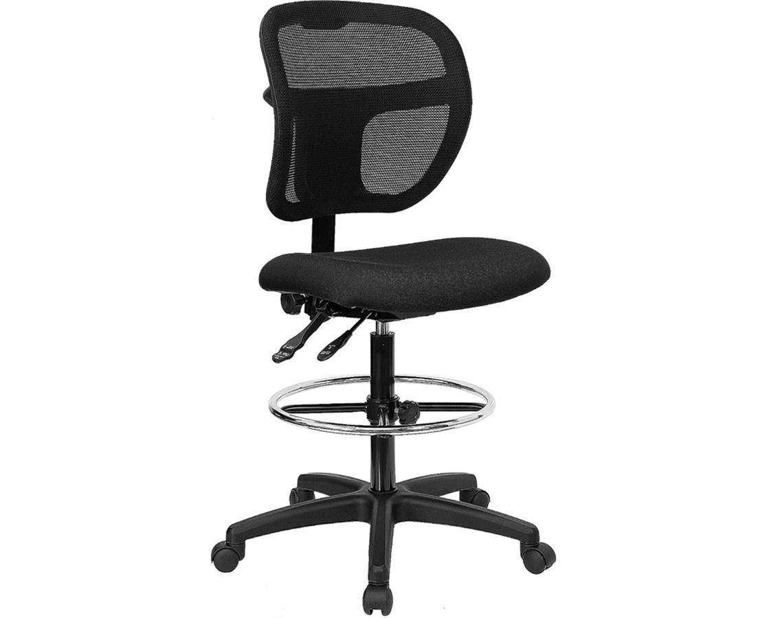 Flash Furniture Mid-Back Drafting Chair WL-A7671SYG-BK-D-GG