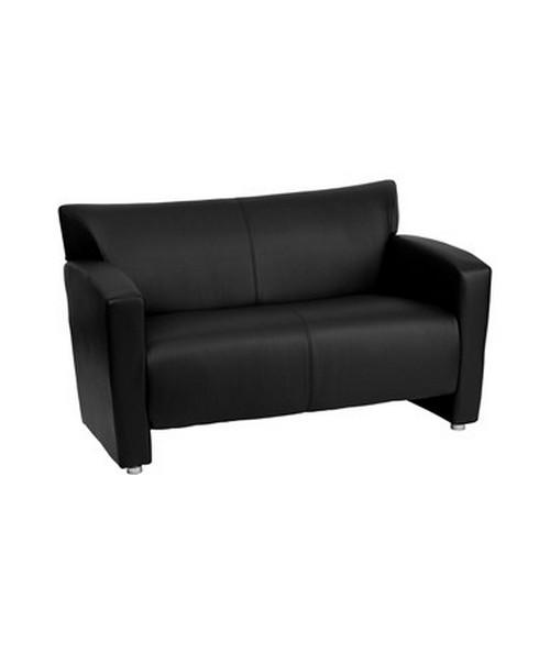HERCULES Majesty Series Black Leather Love Seat [222-2-BK-GG] FLF222-2-BK-GG
