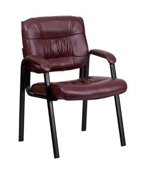Burgundy Leather Guest / Reception Chair with Black Frame Finish [BT-1404-BURG-GG] FLFBT-1404-BURG-GG