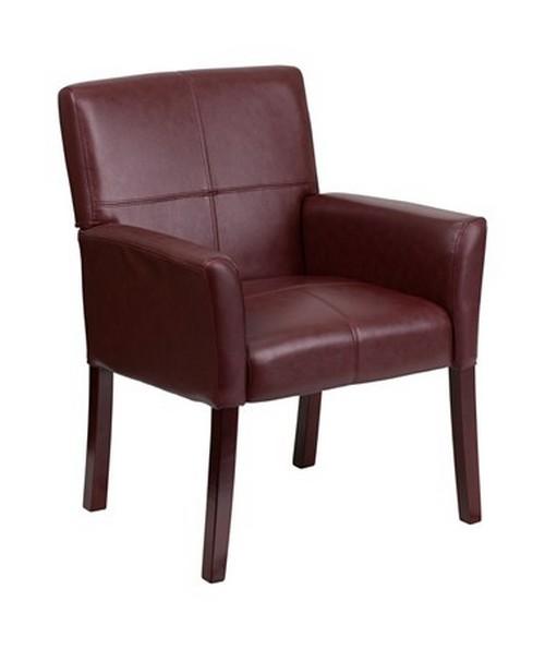 Burgundy Leather Executive Side Chair or Reception Chair with Mahogany Legs [BT-353-BURG-GG] FLFBT-353-BURG-GG