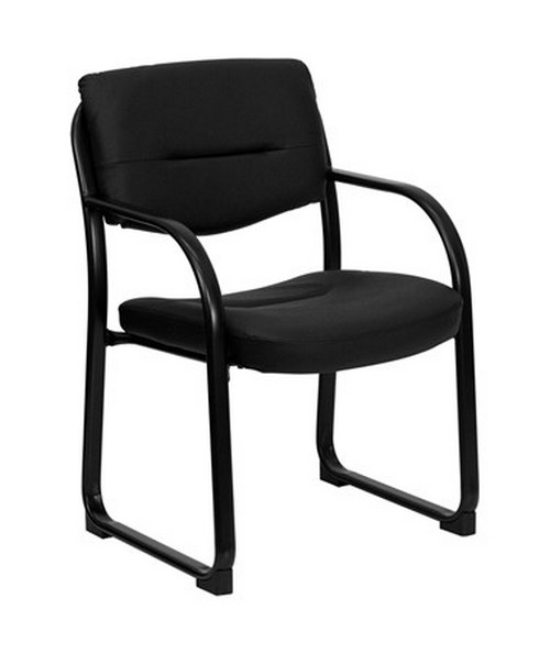 Black Leather Executive Side Chair with Sled Base [BT-510-LEA-BK-GG] FLFBT-510-LEA-BK-GG