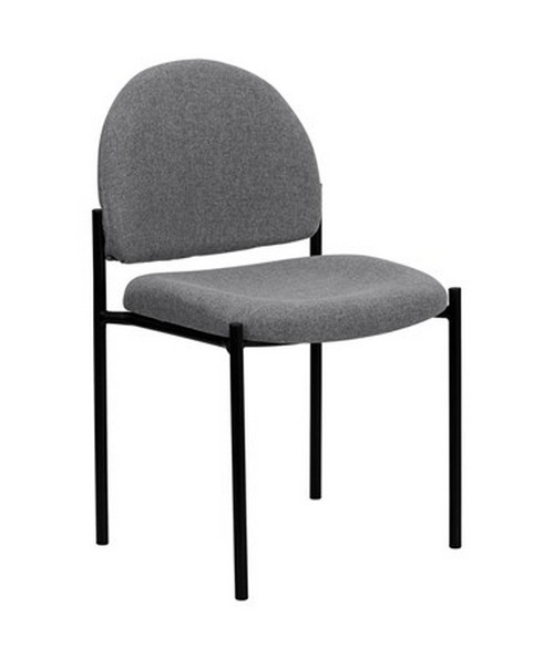 Gray Fabric Comfortable Stackable Steel Side Chair [BT-515-1-GY-GG] FLFBT-515-1-GY-GG