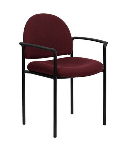 Burgundy Fabric Comfortable Stackable Steel Side Chair with Arms [BT-516-1-BY-GG] FLFBT-516-1-BY-GG