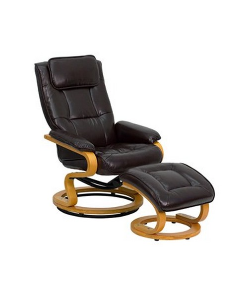 Contemporary Brown Leather Recliner and Ottoman with Swiveling Maple Wood Base [BT-7615-BN-CURV-GG] FLFBT-7615-BN-CURV-GG
