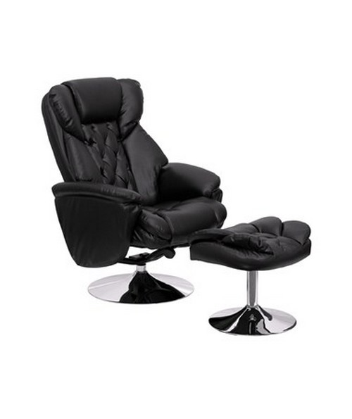 Transitional Black Leather Recliner and Ottoman with Chrome Base [BT-7807-TRAD-GG] FLFBT-7807-TRAD-GG