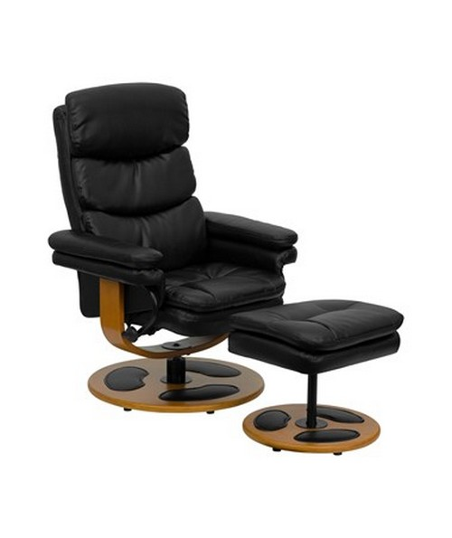 Contemporary Black Leather Recliner and Ottoman with Wood Base [BT-7828-PILLOW-GG] FLFBT-7828-PILLOW-GG