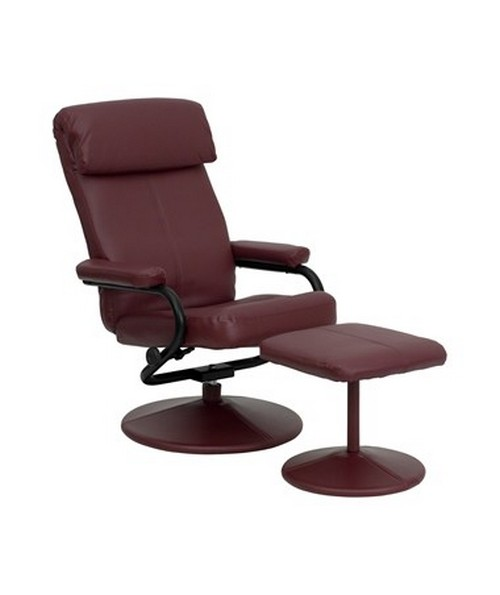 Contemporary Burgundy Leather Recliner and Ottoman with Leather Wrapped Base [BT-7863-BURG-GG] FLFBT-7863-BURG-GG