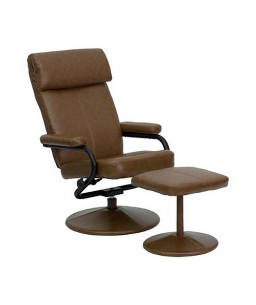 Contemporary Palomino Leather Recliner and Ottoman with Leather Wrapped Base [BT-7863-PALOMINO-GG] FLFBT-7863-PALOMINO-GG