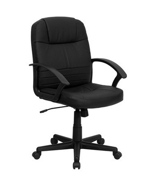 Mid-Back Black Leather Executive Swivel Office Chair [BT-8075-BK-GG] FLFBT-8075-BK-GG