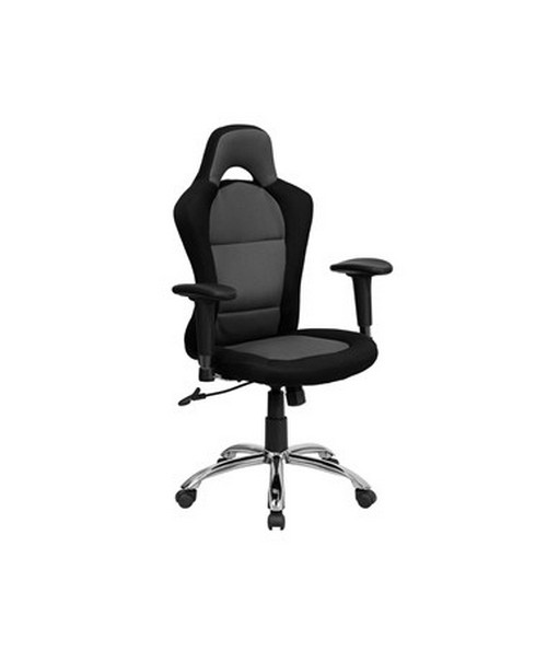 Race Car Inspired Bucket Seat Office Chair in Gray & Black Mesh [BT-9015-GYBK-GG] FLFBT-9015-GYBK-GG