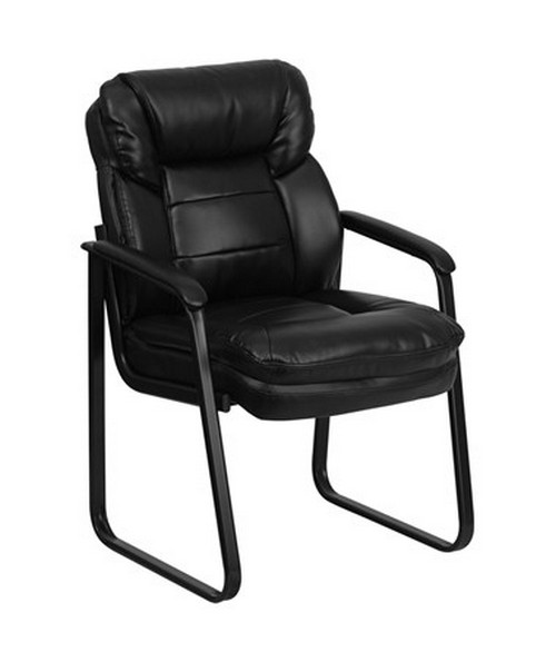 Black Leather Executive Side Chair with Sled Base [GO-1156-BK-LEA-GG] FLFGO-1156-BK-LEA-GG