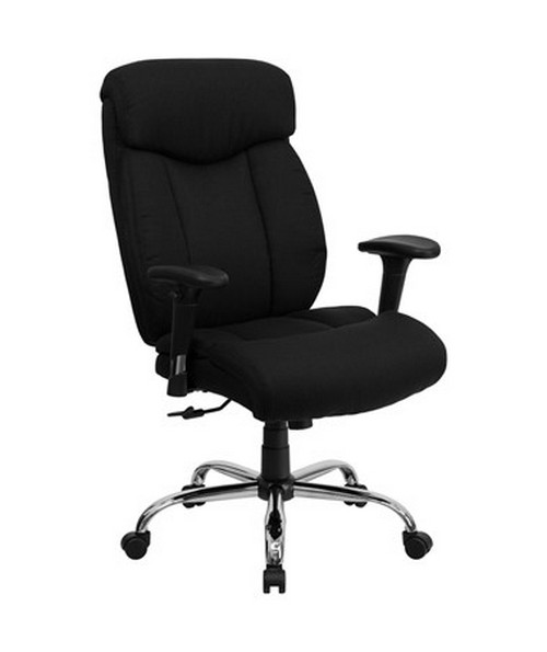 HERCULES Series 350 lb. Capacity Big & Tall Black Fabric Office Chair with Arms [GO-1235-BK-FAB-A-GG] FLFGO-1235-BK-FAB-A-GG