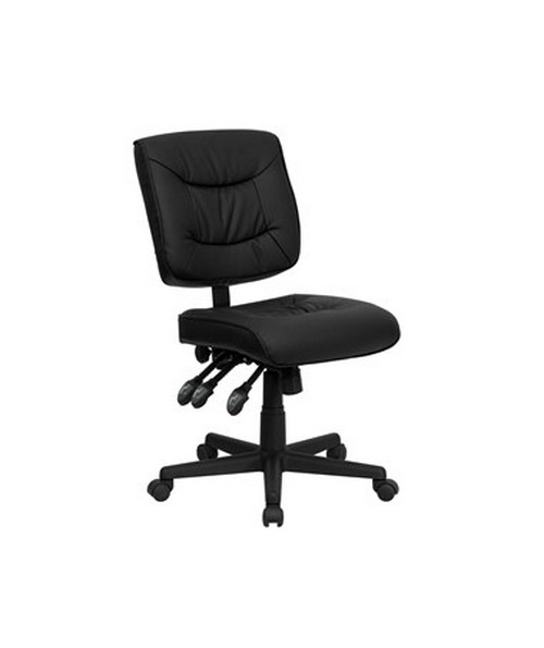 Mid-Back Black Leather Multi-Functional Task Chair [GO-1574-BK-GG] FLFGO-1574-BK-GG