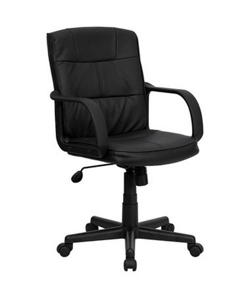 Mid-Back Black Leather Office Chair with Nylon Arms [GO-228S-BK-LEA-GG] FLFGO-228S-BK-LEA-GG