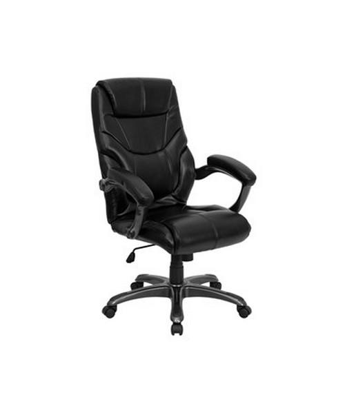 High Back Black Leather Overstuffed Executive Office Chair [GO-724H-BK-LEA-GG] FLFGO-724H-BK-LEA-GG