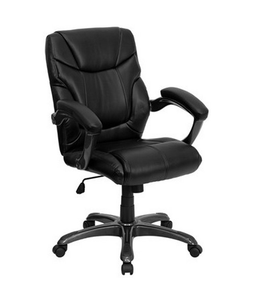 Mid-Back Black Leather Overstuffed Office Chair [GO-724M-MID-BK-LEA-GG] FLFGO-724M-MID-BK-LEA-GG