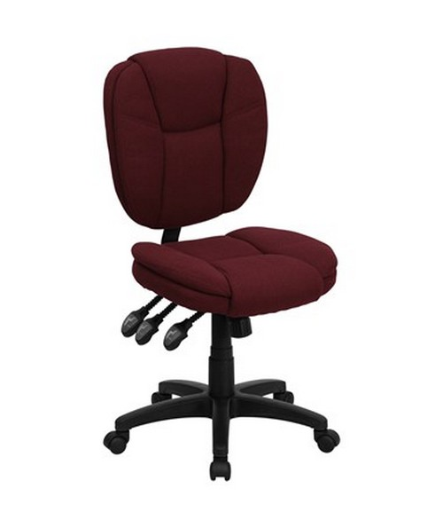Mid-Back Burgundy Fabric Multi-Functional Ergonomic Task Chair [GO-930F-BY-GG] FLFGO-930F-BY-GG