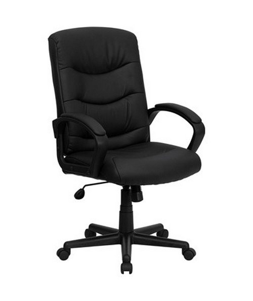 Mid-Back Black Leather Office Chair [GO-977-1-BK-LEA-GG] FLFGO-977-1-BK-LEA-GG