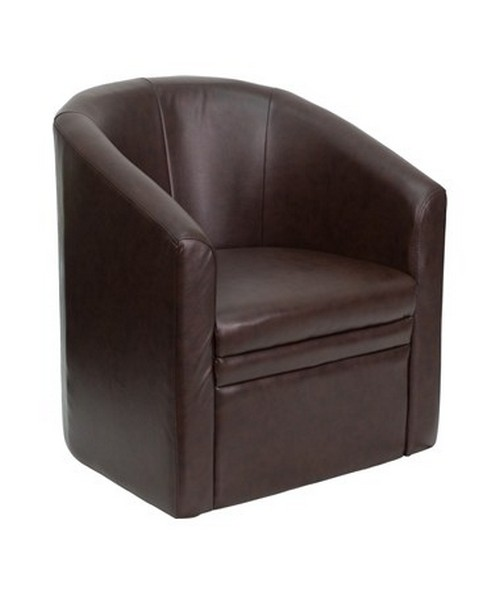 Brown Leather Barrel-Shaped Guest Chair [GO-S-03-BN-FULL-GG] FLFGO-S-03-BN-FULL-GG