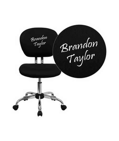 Embroidered Mid-Back Black Mesh Task Chair with Chrome Base [H-2376-F-BK-EMB-GG] FLFH-2376-F-BK-EMB-GG