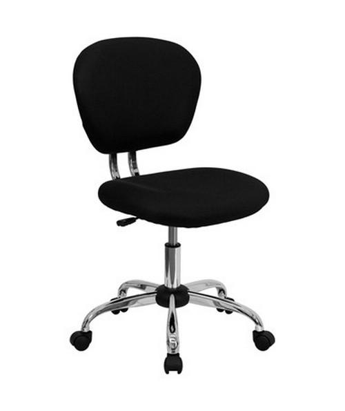 Mid-Back Black Mesh Task Chair with Chrome Base [H-2376-F-BK-GG] FLFH-2376-F-BK-GG