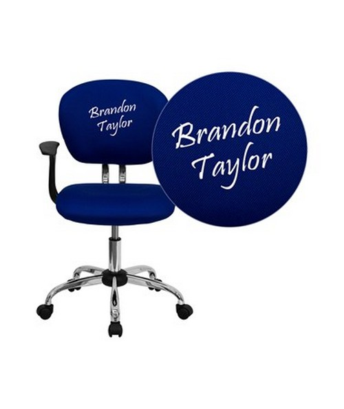 Embroidered Mid-Back Blue Mesh Task Chair with Arms and Chrome Base [H-2376-F-BLUE-ARMS-EMB-GG] FLFH-2376-F-BLUE-ARMS-EMB-GG