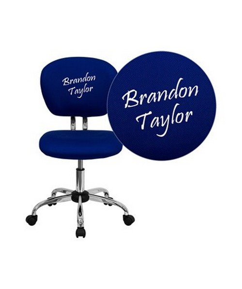 Embroidered Mid-Back Blue Mesh Task Chair with Chrome Base [H-2376-F-BLUE-EMB-GG] FLFH-2376-F-BLUE-EMB-GG