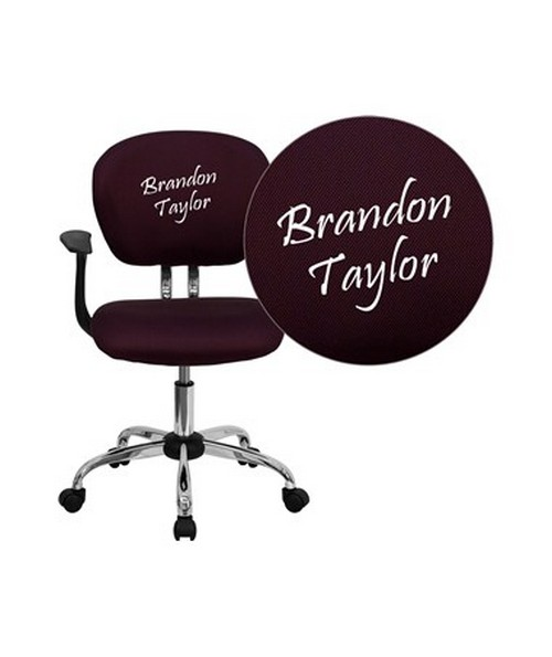 Embroidered Mid-Back Burgundy Mesh Task Chair with Arms and Chrome Base [H-2376-F-BY-ARMS-EMB-GG] FLFH-2376-F-BY-ARMS-EMB-GG