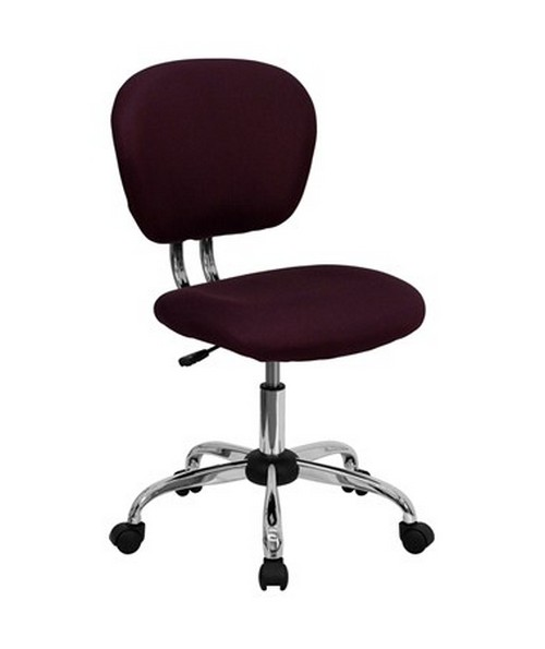 Mid-Back Burgundy Mesh Task Chair with Chrome Base [H-2376-F-BY-GG] FLFH-2376-F-BY-GG