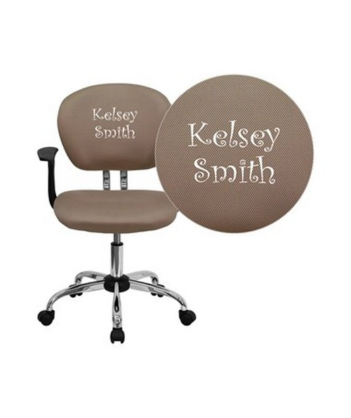 Embroidered Mid-Back Coffee Brown Mesh Task Chair with Arms and Chrome Base [H-2376-F-COF-ARMS-EMB-GG] FLFH-2376-F-COF-ARMS-EMB-GG