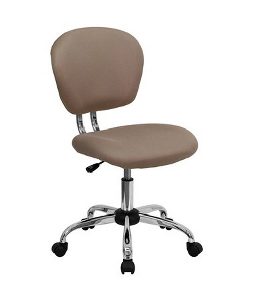 Mid-Back Coffee Brown Mesh Task Chair with Chrome Base [H-2376-F-COF-GG] FLFH-2376-F-COF-GG
