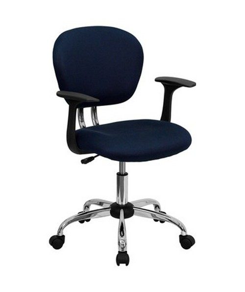 Mid-Back Navy Mesh Task Chair with Arms and Chrome Base [H-2376-F-NAVY-ARMS-GG] FLFH-2376-F-NAVY-ARMS-GG