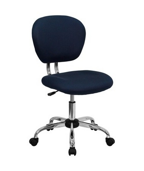 Mid-Back Navy Mesh Task Chair with Chrome Base [H-2376-F-NAVY-GG] FLFH-2376-F-NAVY-GG