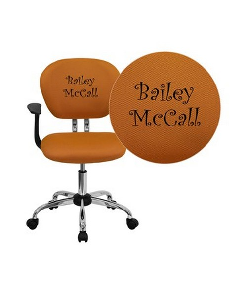 Embroidered Mid-Back Orange Mesh Task Chair with Arms and Chrome Base [H-2376-F-ORG-ARMS-EMB-GG] FLFH-2376-F-ORG-ARMS-EMB-GG