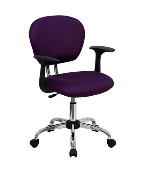 Mid-Back Purple Mesh Task Chair with Arms and Chrome Base [H-2376-F-PUR-ARMS-GG] FLFH-2376-F-PUR-ARMS-GG