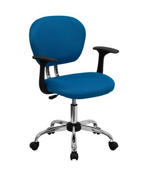Mid-Back Turquoise Mesh Task Chair with Arms and Chrome Base [H-2376-F-TUR-ARMS-GG] FLFH-2376-F-TUR-ARMS-GG
