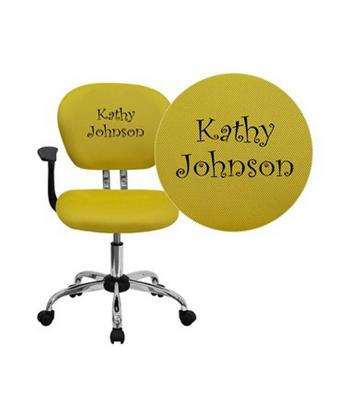 Embroidered Mid-Back Yellow Mesh Task Chair with Arms and Chrome Base [H-2376-F-YEL-ARMS-EMB-GG] FLFH-2376-F-YEL-ARMS-EMB-GG